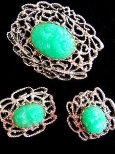 Peking Glass Brooch Molded Green Earrings by RenaissanceFair, $33.00