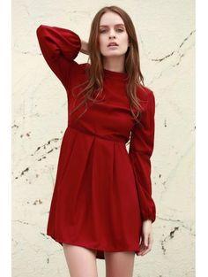 Color sólido soporte vestido de cuello de manga larga