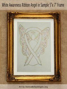 White Awareness Ribbon Guardian Angel Art by AwarenessGallery