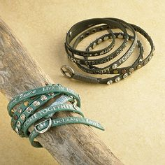 $41.95 More than fashion, this on-trend, slightly vintage leather wrap bracelet reminds you to plant peace, believe, celebrate, dream ... with every glance at your wrist. We guarantee you'll collect compliments and spark conversation each time you wear it. It is equally at home with pearls or jeans. If wrapping your wrist isn't your thing, consider this your go-to, skinny mini belt  and embrace your tunic tops with inspiration. It's adorable no matter how you choose to wear it.