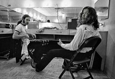 Amazing backstage picture of Hughie Thomasson and Billy Jones of the Outlaws. Taken by John Gellman, #outlaws