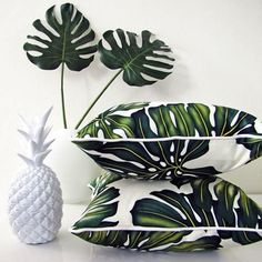 we've got this white pineapple and monstera leaves, and now we have tropical pillows Design Tropical, Tropical Home Decor, Tropical Pattern, Tropical Houses, Modern Tropical, Tropical Interior, Tropical Prints, Tropical Colors, Palm Print