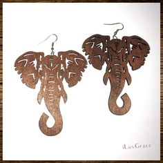 Wooden Earrings ~ Elephant Head ~ Black Chicks, Elephant Head, Glitter Lips, Wooden Earrings, Yellow Sweater, Red Lips, Fashion Earrings, Dream Catcher, Dangles