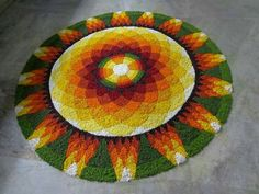 We have listed the most beautiful pookalam / athapookalam designs which will be used during Onam festival. Rangoli Designs Flower, Flower Rangoli, Onam Pookalam Design, Onam Festival, Silk Thread Bangles, Christmas Tree, Holiday Decor, Floral, Flowers