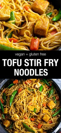 Vegan + gf Tofu Stir Fry Noodles - this tastes AMAZING!You can find Tofu recipes and more on our website.Vegan + gf Tofu Stir Fry Noodles - this tastes AMAZING! Vegan Dinner Recipes, Vegan Dinners, Vegetarian Recipes, Cooking Recipes, Healthy Recipes, Tofu Meals, Dinner Healthy, Easy Recipes, Asian Tofu Recipes
