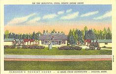 "Elmgren's Tourist Court Duluth, Minnesota Postcard - ""20 Clean, Completely Modern Cabins — Safe Vented Heat — Private Showers — Quiet and comfortable — Hayfever Haven. Store."""