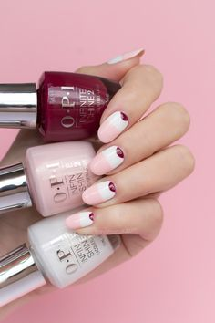 Pink and White Minimalist nails ft. OPI Infinite Shine We The Female and Alpine Snow