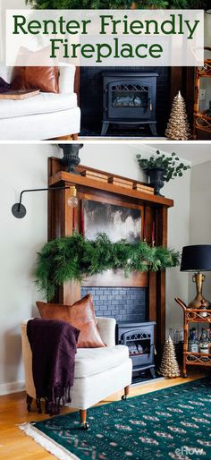 Don't have a fireplace and are renting your home or apartment? Fear not! You can still create this focal point in any space. Transform an old mantel into a renter-friendly fireplace: http://www.ehow.com/how_12343040_create-renterfriendly-fireplace.html?utm_source=pinterest.com&utm_medium=referral&utm_content=freestyle&utm_campaign=fanpage