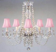 Swarovski Crystal Trimmed Chandelier New Authentic All Crystal Chandelier With Pink Shades Swag Plug In-Chandelier W/ Feet Of Hanging Chain And Wire - Sw Plug In Chandelier, Crystal Chandelier Lighting, Chandelier Shades, Nursery Chandelier, Acrylic Chandelier, Vintage Crystal Chandelier, Crystal Lamps, Dining Chandelier, Pendant Lamps