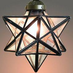 40W Mediterranean-style Tiffany Five-pointed star shape Transparent glass Tiffany Pendant Lights - 1 Light – USD $ 99.99