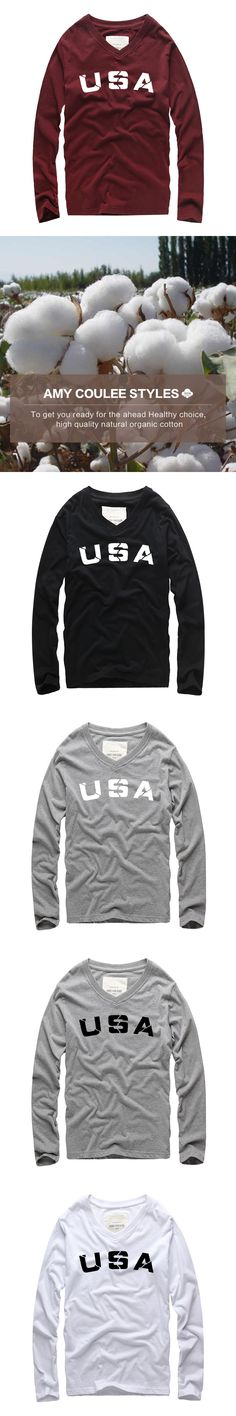 New Hot Sale Men Fashion brand USA Printed v-neck T shirt Autumn/Winter Men Long Sleeve tshirt Street HipHop rock tide t-shirts