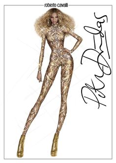 Take a look at the sketch of the by Peter Dundas custom made jumpsuit all-over embroidered with crystals to create an intertwined gold and bronze snake design wrapping around her body worn by Beyoncé during The Formation World Tour. Illustration Mode, Fashion Illustration Sketches, Fashion Sketches, Diva Fashion, Fashion Art, Fashion Models, Fashion Outfits, Beyonce Drawing, Beyonce Performance