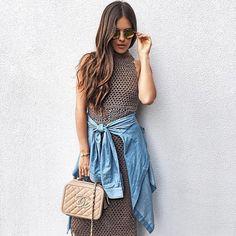 Crochet dress + denim shirt = outfit perfection