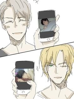 """My friend sent this to me and said """"I found us"""". She loves Banana Fish and I love Yuri! On Ice Otaku Anime, Anime Guys, Victor Y Yuri, Yuri On Ice Comic, Banana Art, ユーリ!!! On Ice, Mini Comic, Anime Crossover, Fanarts Anime"""