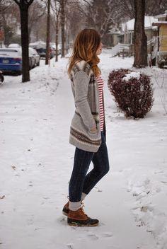 bean boots + stripes + snow