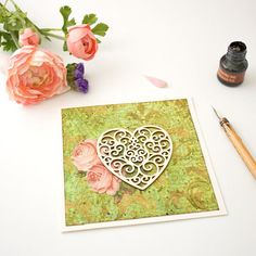 heart  Green Romantic Greeting Card with Wooden Heart and