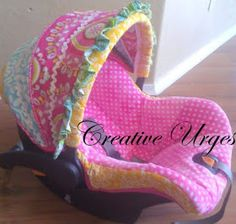 So I've always wanted to make a car seat cover and when I found out I was having another girl I knew I needed to find out how to make . 3rd Baby, Baby Love, Baby Kids, Baby Sister, Baby Crafts, Baby Sewing, Future Baby, Future Daughter, Baby Accessories