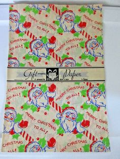 "Vintage Christmas Gift Wrap Santa Holly Berries 3 Sheets 20"" x 30"" 