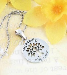 56d5e264fa8496 My Family, My Love - Tiny Tree of Life Necklace - woot & hammy Mother
