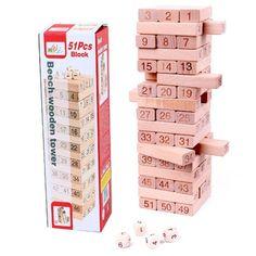 Buy Surwish Number Building Blocks Beech Wooden Jenga Game for Kids