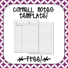 Free Cornell Notes Template  Laura Torres  Teacherspayteachers