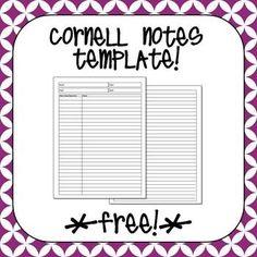 Free Cornell Notes Template  Laura Torres  Teacherspayteachers