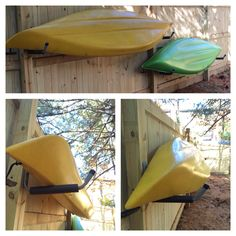 Outdoor kayak storage. Got the utility hooks at Home Depot for $6 each.