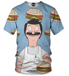 Bob's Burgers is one the most hilarious cartoon shows. Now you can appreciate Bob's Burgers with this awesome all over print Bob's Burger t-shirt. This t-shirt features Bob serving his burger with a f
