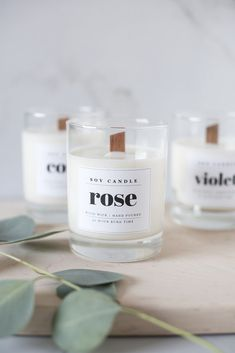 wood wick soy candle DIY with downloadable labels! | coco kelley