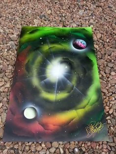 Colorful spiral mystic universe spray paint art