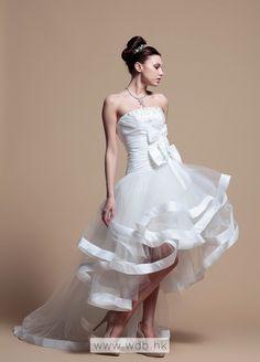 High Fashion With Taffeta Hem High-Low Wedding Dress