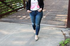Dress up a graphic tee for work with a tailored blazer and fun heels   Ann Taylor blazer + Madewell jeans + J.Crew heels + J.Crew Factory flamingo tee