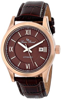 Lucien Piccard Men's LP-12392-RG-04 'Meuse' Stainless Steel Automatic Watch with Brown Leather Band * Click image for more details.