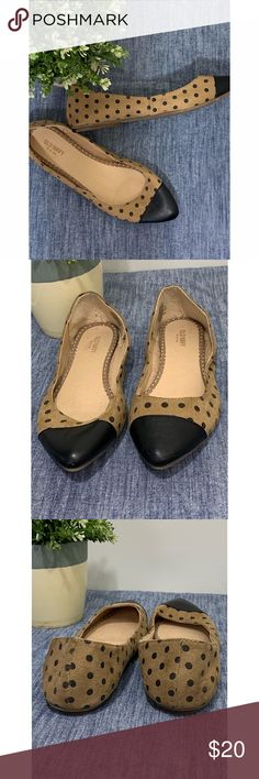 6b4292217f8bb1 OldNavy Tan and Black Polkadot Ballet Flats  9 The perfect flat to spice up  any