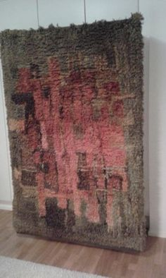 Large & Thick Swedish Rya Wool Rug With Abstract Cubist Det Rya Rug, Wool Rug, Rugs On Carpet, Carpets, Rug Hooking, Floor Rugs, Textile Art, Home Art, Fiber Art