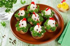 Photo about Funny chickens from eggs on the Easter table. Appetizer of mushrooms and quail eggs. Image of healthy, mushroom, nobody - 83825671 Chicken Humor, Quail Eggs, Romanian Food, Chicken Eggs, Easter Table, Caprese Salad, Easter Funny, Stuffed Mushrooms, Appetizers