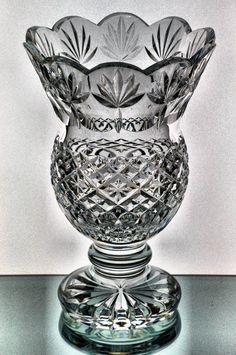 Waterford Society Crystal Fitzwilliam Vase Limited Ed. 71/500 w Box Ireland