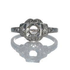 Leigh Jay Nacht Inc. - Replica Art Deco Engagement Ring Setting - L3096