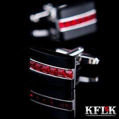 Cufflinks - Trendy round red Crystal & Black Onyx cufflinks