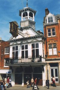 Guildford, England - The Guildhall with its famous clock, from 1683.  I was privileged to host a reception of a scientific conference in the Guildhall, and it is as impressive inside as it is out.