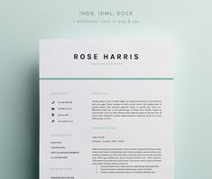 3 Page Resume Template   INDD + DOCX @creativework247