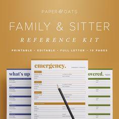 family babysitter reference kit editable emergency contact medical info babysitting