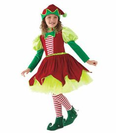 "jingle bell elf costume - any kid who's on ""Santa's team"" is going to be very popular indeed! you're all holly-jolly in this red and green velour dress with pointy collar, tulle and sequin trim. make yourself completely merry with the matching pompom hat, striped leggings and elf shoes. you'll have everyone singing Christmas songs!"