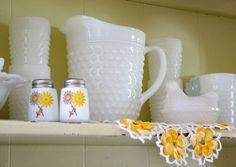 Milk glass display - a photo on