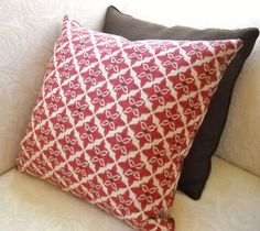 "Large Red and Beige Ikat Print 20"" Pillow Cover. $36.00, via Etsy."