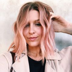 Living for dusty coral strands for #summer2019.   #T3Hair #Wavyhair #beacheaves #pastelhair #pinkhair Pastel Coral Hair, Pink Hair, Barrel Curling Iron, Wavy Hair, Short Hairstyles, Strands, Curls, Long Hair Styles, Beauty