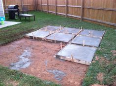 DIY Backyard Patio -Poured concrete into each frame