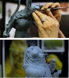 Vicki Saulls esculpindo personagens da Blue Sky