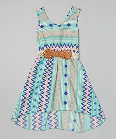 Look what I found on #zulily! Mint Zigzag Stripe Belted Dress by Just Kids #zulilyfinds