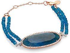 Meira T - Apatite, Diamond & Rose Gold Two-Row Beaded Bracelet Rose Gold Jewelry, Beaded Jewelry, Beaded Bracelets, Gold Jewellery, Diamond Bangle, Diamond Jewelry, 14 Karat Gold, Gold Bangles, Luxury Jewelry